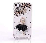 DIY Ballett-Mädchen und Lucky Blumen-Muster mit Strass Kunststoff Hard Case für iPhone 4/4S