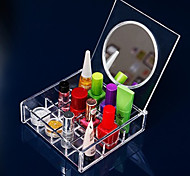 Acrylic Transparent Quadrate 3x4 Cosmetics Storage Box with Mirror Cosmetic Organizer