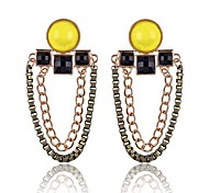 (1 Paar) europäische (gelbe Ohrschmuck Doppelkette) golden Legierung Tropfen Ohrringe (gelb)