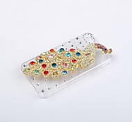Clear Bling Diamond Colorful Peacock Hard Back Case Cover for Apple iPhone4/4S