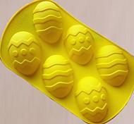 6 furos Ovos de Páscoa Forma Bolo Mould, Silicone Material, tamanho grande, cor aleatória
