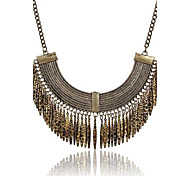 (1 Pc)Vintage (Retro Half Crescent Tassel Necklace) Brown Alloy Statement Necklace(Cinnamon)