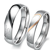 """Real Love"" Heart Stainless Steel Band Ring Valentine Couples Wedding Engagement Promise Rings"