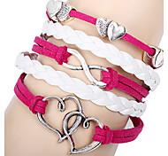 Fashion Closer Hearts 20cm Women's Rose Leather Wrap Bracelet(1 Pc)