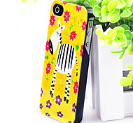 Zebra And Floral Pattern ABS Back Case for iPhone 4/4S