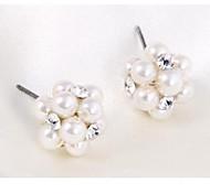 Fashion Pearl Stud Earrings And Rhinestone Weave