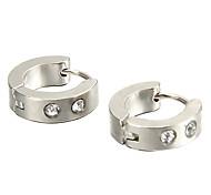 presente para namorado moda strass prata titânio brincos de aço (1 par)