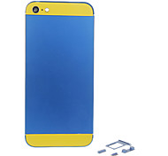 Navy Metal Alloy Back Battery Housing with Button and Yellow Glass For iPhone 5