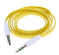 Noodle Style Gold Plated 3.5mm Audio Jack Connection Cable(Yellow 1.03m)