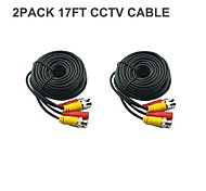 2 PACK BNC Cable 17FT  Power Video Plug and Play Cable for CCTV Camera System Security