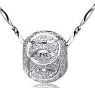 presente para namorada Europeia (esfera) prateado pingente colar (1 pc)