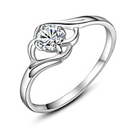 Platinum Plated Simulated Diamond Wedding Ring
