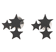 Fashion Three Stars Black Alloy Stud Earrings (1 Pair)