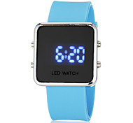 Unisex Blue LED Digital Silver Square Case Silicone Band Faceless Watch (Assorted Colors)