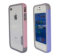 Fashion Double Color TPU Frame Bumper for iPhone4S(Pink+Blue)
