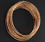 Classic 18.5cm Assorted Color Alloy Assembly Bangles(Gold,Silver)(6 Pcs)