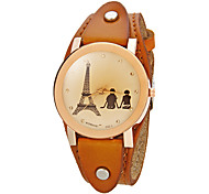 Women's Lover Pattern Round Dial Pu Band Quartz Analog Wrist Watch (Assorted Colors)