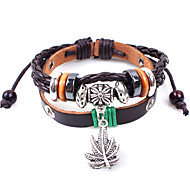 Z&X®  Maple Leaf National 24cm Men's Leather Wrap Bracelet(1 Pc)