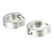 presente para namorado moda prata linear brincos de titânio de aço (1 par)