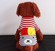 Pet Orejas Bolsa Stripe T Shirt para Mascotas Perros (varios colores, los tamaños)