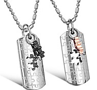 Fashion Retro Jewellery Jigsaw Stainless Steel Couple's Necklace(2 PCS)