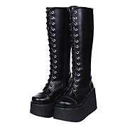 Cavalier Style Black Platform Classic Lolita PU 10cm High-heeled Boots