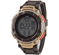 Men's Multifunctional LCD Digital Brown Rubber Band Wrist Watch