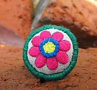New Style Flower-Shape Hand Embroidery Fabric Women's Ring(1 Pc)