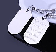 Personalized Gift Men's Jewelry Military Card Design Engraved Pendant Necklace with 60cm Chain