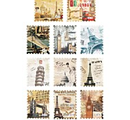 1PCS (Included 11-Patterns of Famous Place) Postage Stamp Sery Water Transfer Print Nail Art Sticker for Manicure