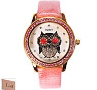 Personalized Gift Women's the Owl Shape White PU Band Analog Engraved Watch with Rhinestone(Assorted Colors)