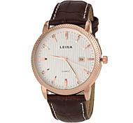 Men's Business Style Gold Case Calendar Leather Band Quartz Wrist Watch (Assorted Colors)