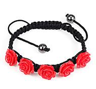 Sweet Red Roses 20cm Women's Black Fabric Friendship Bracelet (1 Pc)
