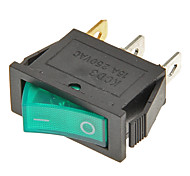 Rocker Switch 3-Pin ON / OFF (Verde y Negro, 6A, CA 250V/10A, AC 125 V)