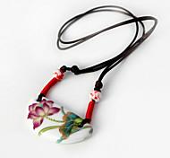 Fashion (Lotus Pattern Keramik-Anhänger) Braun Stoff Anhänger Halskette (1 Stk.)