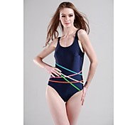 Women's Straped One-pieces Polyester/Spandex Blue/Black