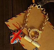 Lureme®Enamel British Flag Mouth Charm Bracelet