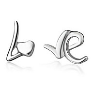 "New Style Sweet Silver Plated Silver ""LOVE"" Stud Earring(1 pair)"