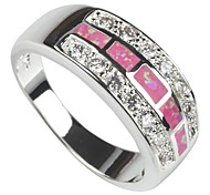 Fashion 925 Silver Plated Copper Pink Opal Ring