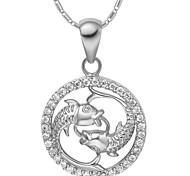 liga de moda do zodíaco dos peixes colar das mulheres com strass (1 pc) (ouro, prata)