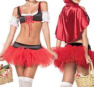 Caperucita Roja y Negro Poliéster Carnival Costume Party de la Mujer
