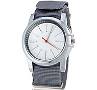 Men's Casual Style White Dial Fabric Band Quartz Wrist Watch (Assorted Colors)