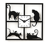 "12""H Four Naughty Cat Acrylic Wall Clock"