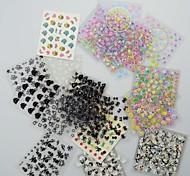 50PCS 3D Design Nail Art Stickers Tips for Manicure (Mixed Random Styles)