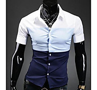 Men's Three Color Stitching Casual Short Sleeve Shirt