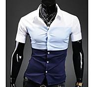 Casual Shirt Tres color de los cordones de manga corta de los hombres