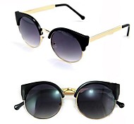Women's Vintage Cat Eye Super Round Metal Circle Sunglasses