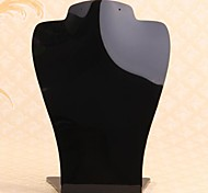 Fashion Organic Glass Bust Display Stand For Necklace (Black) (1pc)