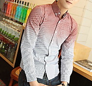 Men's Contrast Color Stripes Shirts
