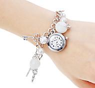 Femme Bracelet de Montre Quartz Bande Perles Blanc